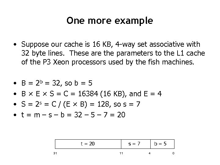One more example • Suppose our cache is 16 KB, 4 -way set associative