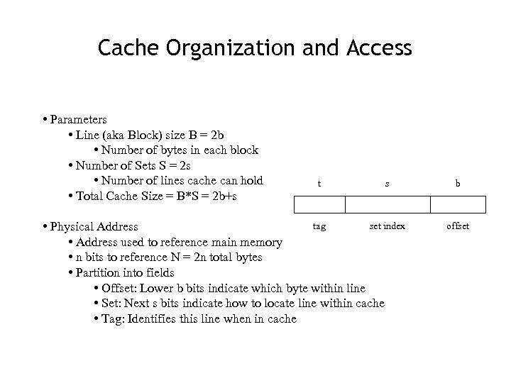Cache Organization and Access • Parameters • Line (aka Block) size B = 2