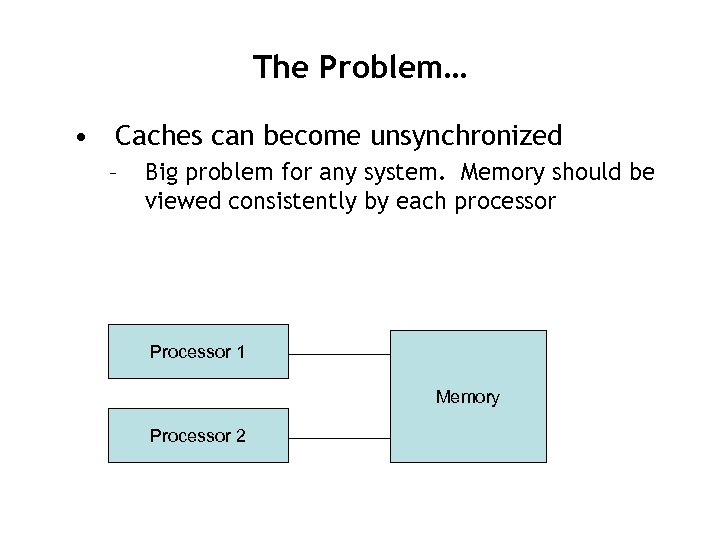 The Problem… • Caches can become unsynchronized – Big problem for any system. Memory