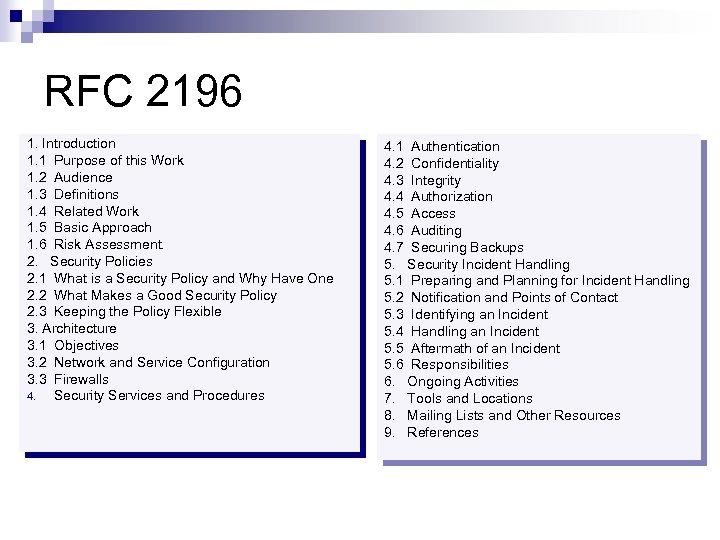 RFC 2196 1. Introduction 1. 1 Purpose of this Work 1. 2 Audience 1.