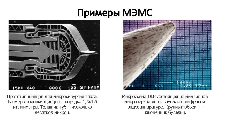 Примеры МЭМС Прототип щипцов для микрохирургии глаза. Размеры головки щипцов – порядка 1, 5