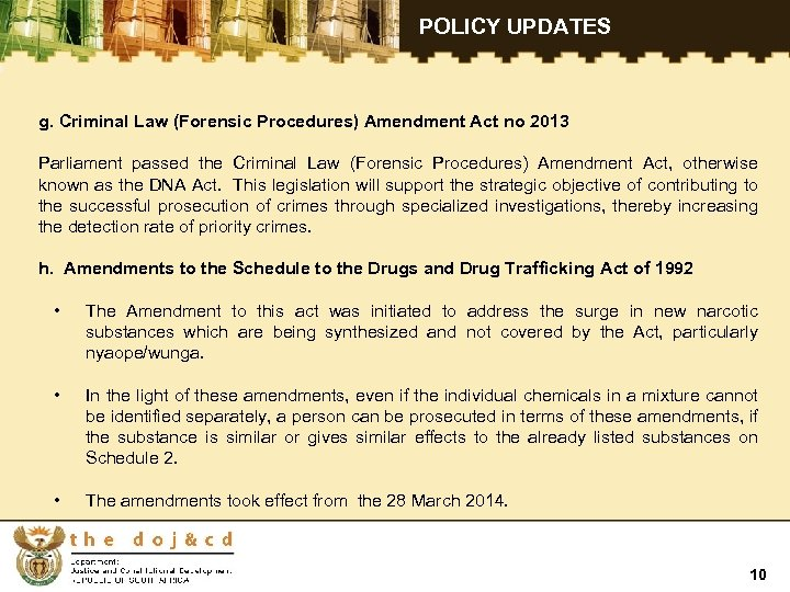 POLICY UPDATES g. Criminal Law (Forensic Procedures) Amendment Act no 2013 Parliament passed