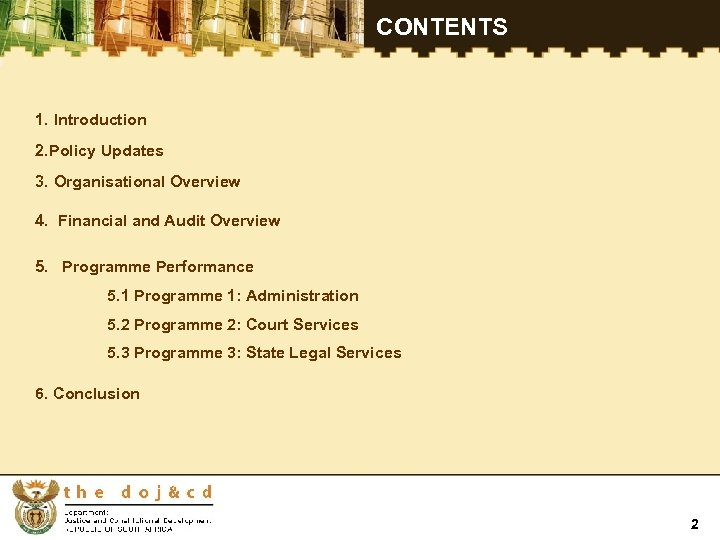 CONTENTS 1. Introduction 2. Policy Updates 3. Organisational Overview 4. Financial and Audit Overview