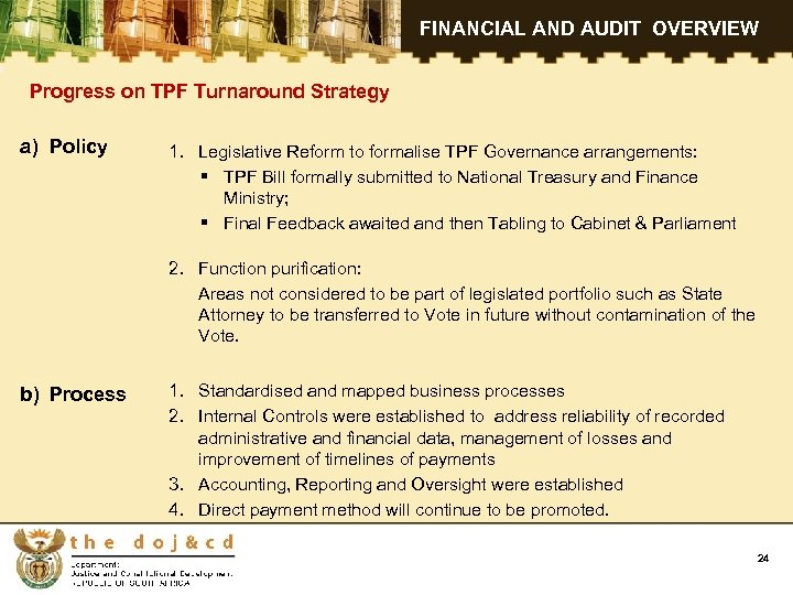 FINANCIAL AND AUDIT OVERVIEW Progress on TPF Turnaround Strategy a) Policy 1. Legislative Reform
