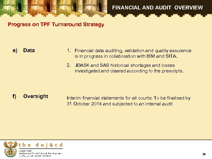 FINANCIAL AND AUDIT OVERVIEW Progress on TPF Turnaround Strategy e) Data 1. Financial data