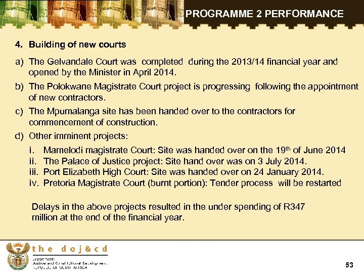 PROGRAMME 2 PERFORMANCE 4. Building of new courts a) The Gelvandale Court was completed