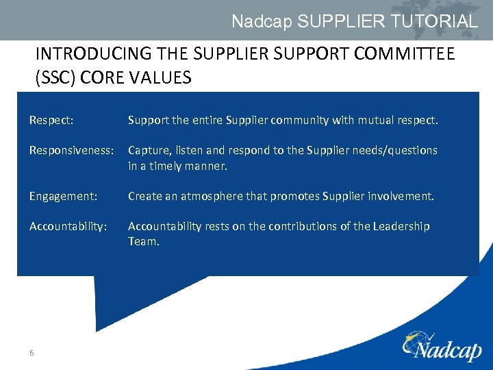 Nadcap SUPPLIER TUTORIAL INTRODUCING THE SUPPLIER SUPPORT COMMITTEE (SSC) CORE VALUES Respect: Support the