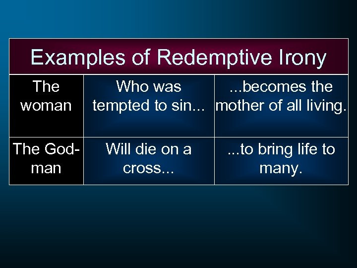 Examples of Redemptive Irony The woman The Godman Who was. . . becomes the