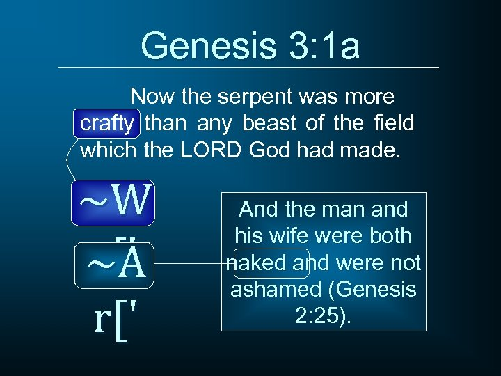 Genesis 3: 1 a Now the serpent was more crafty than any beast of