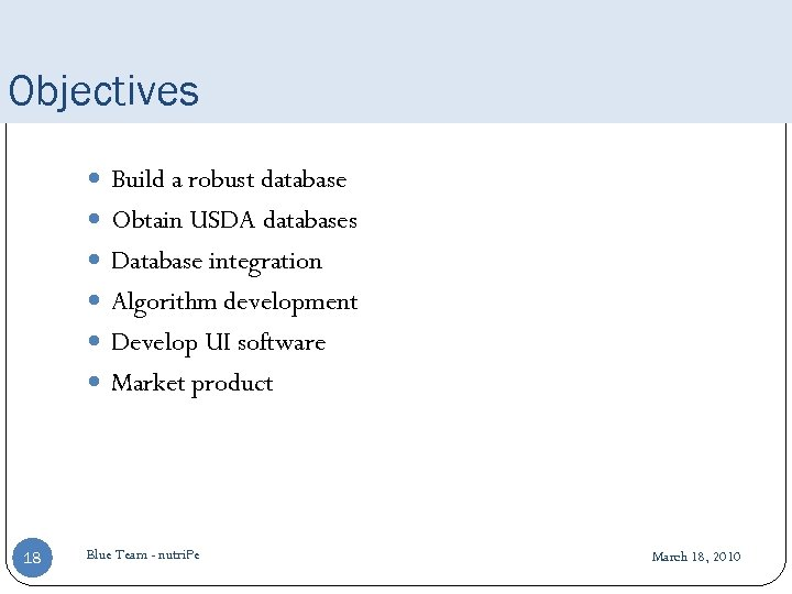 Objectives Build a robust database Obtain USDA databases Database integration Algorithm development Develop UI