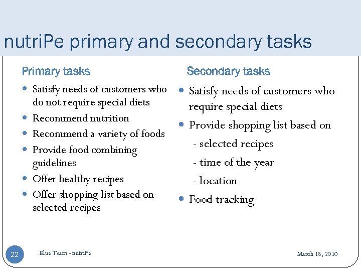 nutri. Pe primary and secondary tasks Primary tasks Secondary tasks Satisfy needs of customers
