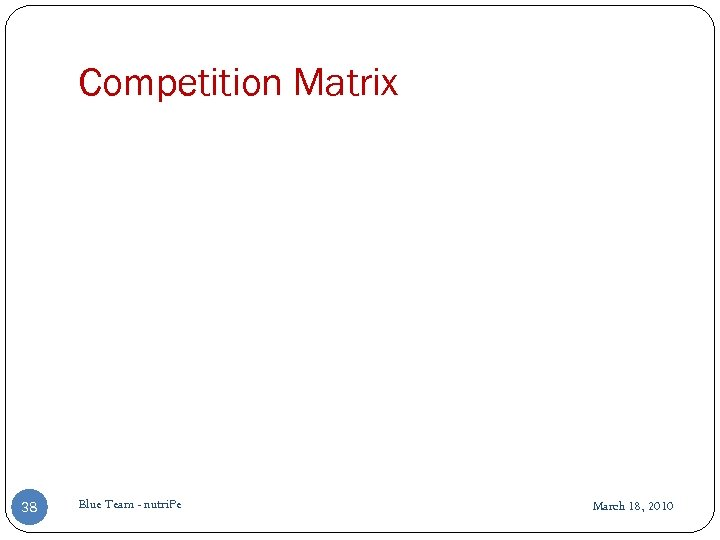 Competition Matrix 38 Blue Team - nutri. Pe March 18, 2010