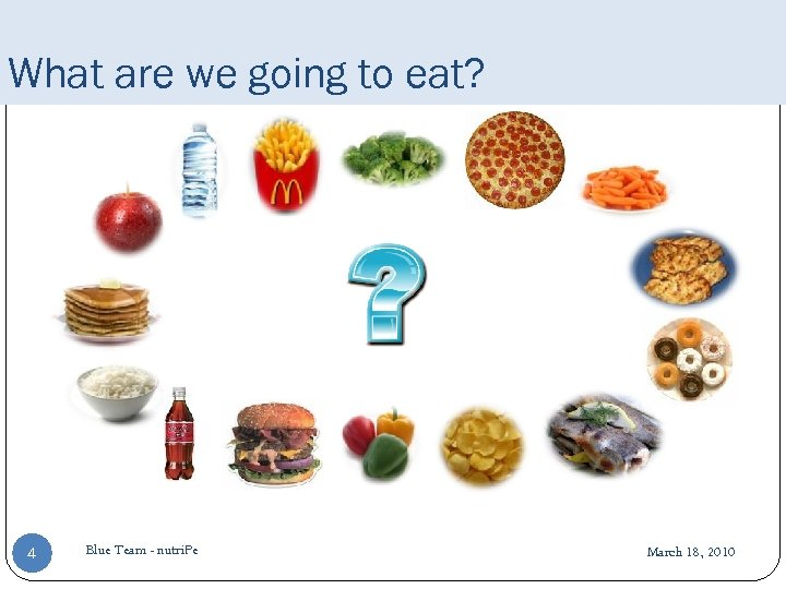 What are we going to eat? 4 Blue Team - nutri. Pe March 18,