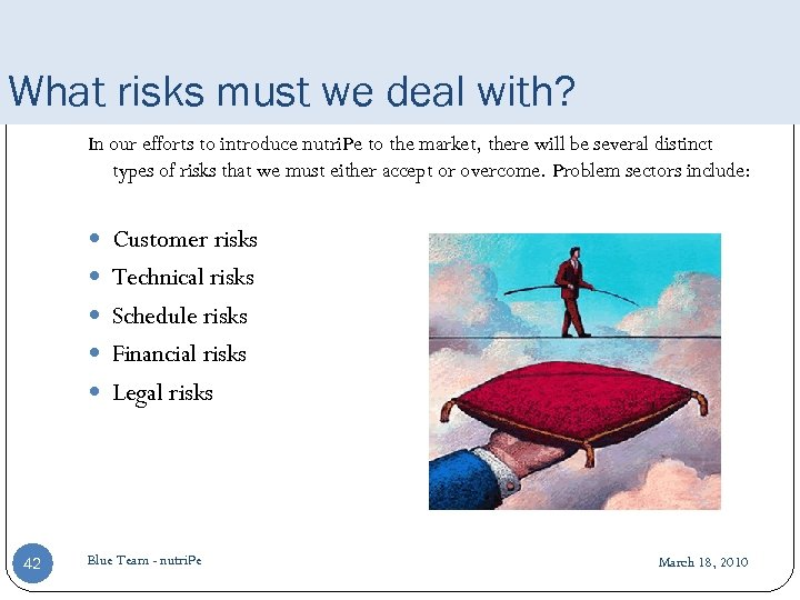 What risks must we deal with? In our efforts to introduce nutri. Pe to