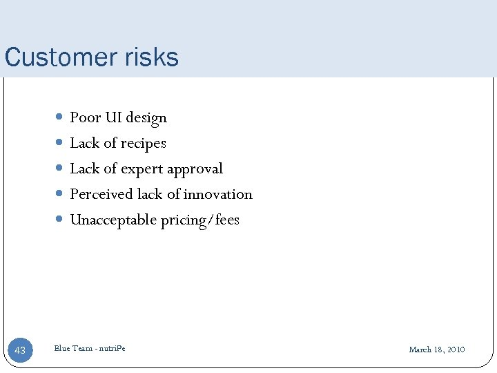 Customer risks Poor UI design Lack of recipes Lack of expert approval Perceived lack