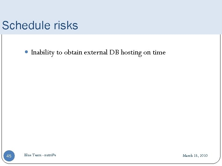 Schedule risks Inability to obtain external DB hosting on time 45 Blue Team -