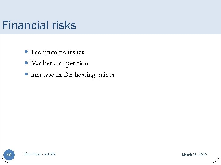 Financial risks Fee/income issues Market competition Increase in DB hosting prices 46 Blue Team