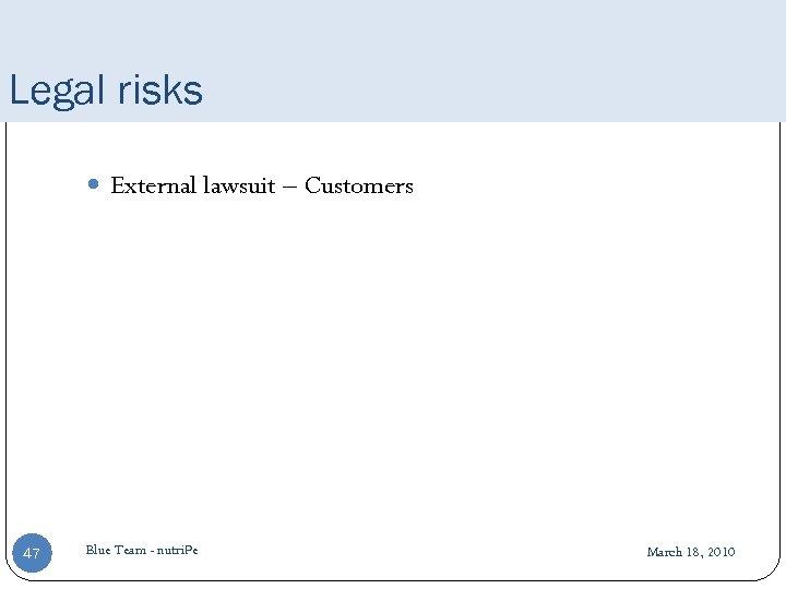 Legal risks External lawsuit – Customers 47 Blue Team - nutri. Pe March 18,