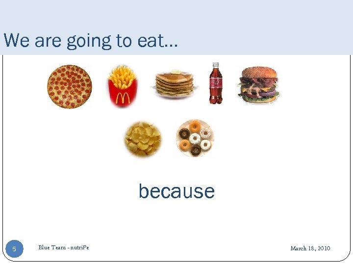 We are going to eat… because 5 Blue Team - nutri. Pe March 18,