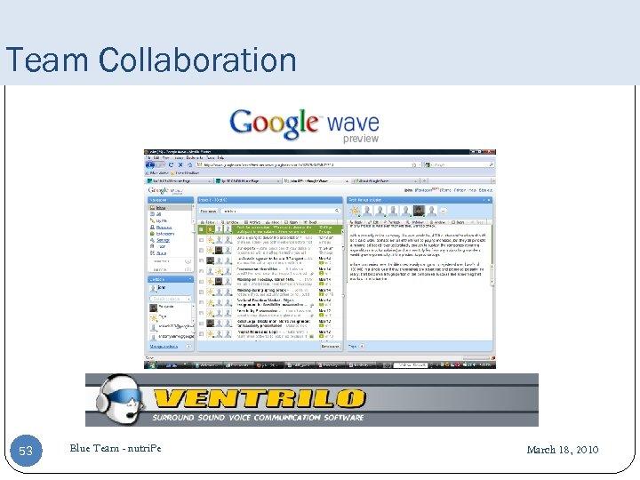 Team Collaboration 53 Blue Team - nutri. Pe March 18, 2010