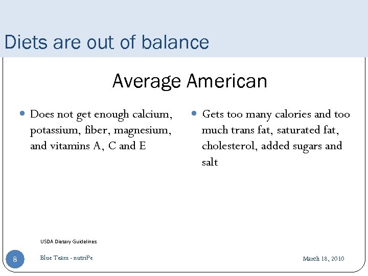 Diets are out of balance Average American Does not get enough calcium, potassium, fiber,