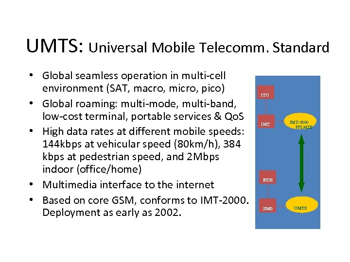 UMTS: Universal Mobile Telecomm. Standard • Global seamless operation in multi-cell environment (SAT, macro,