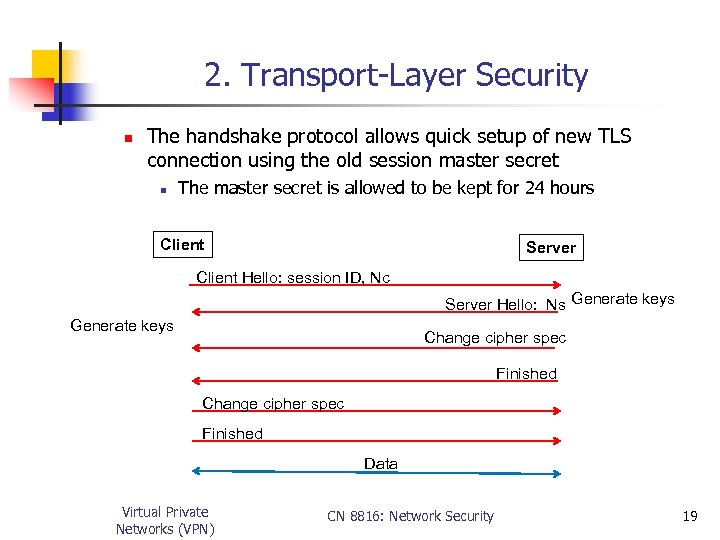 2. Transport-Layer Security n The handshake protocol allows quick setup of new TLS connection
