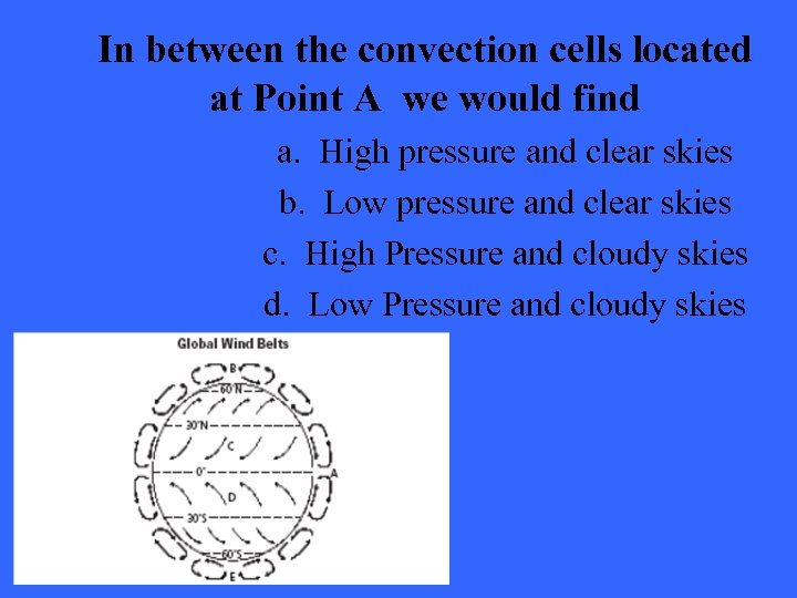 In between the convection cells located at Point A we would find a. High
