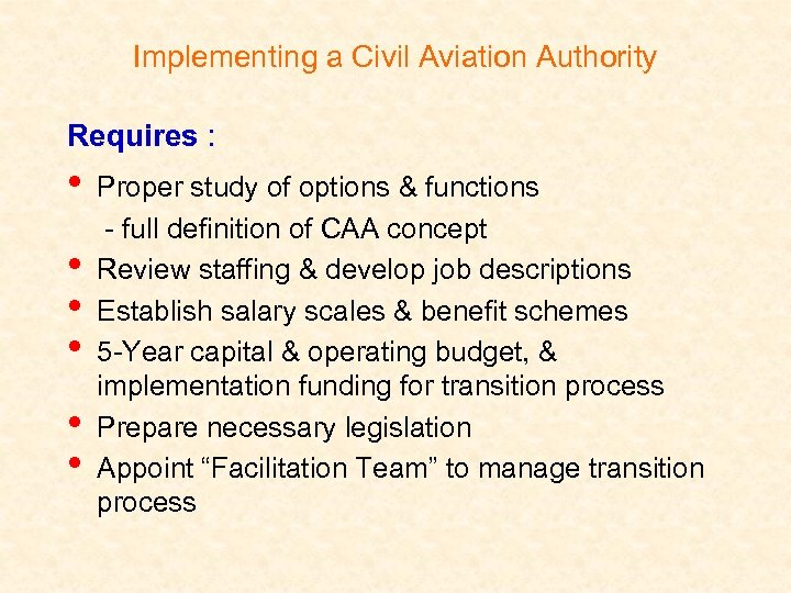 Implementing a Civil Aviation Authority Requires : • • • Proper study of options