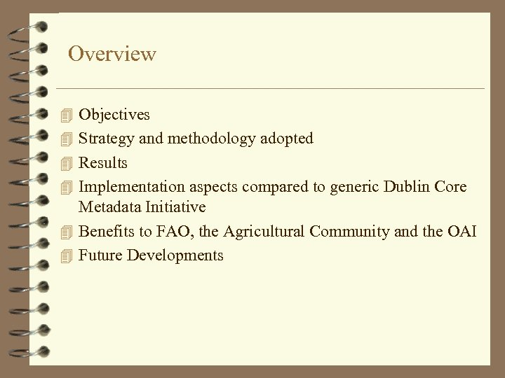 Overview 4 Objectives 4 Strategy and methodology adopted 4 Results 4 Implementation aspects compared