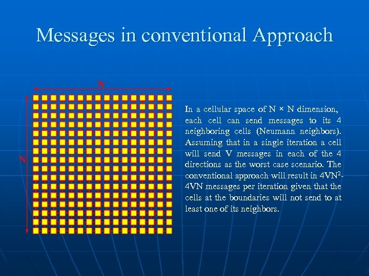Messages in conventional Approach In a cellular space of N × N dimension, each