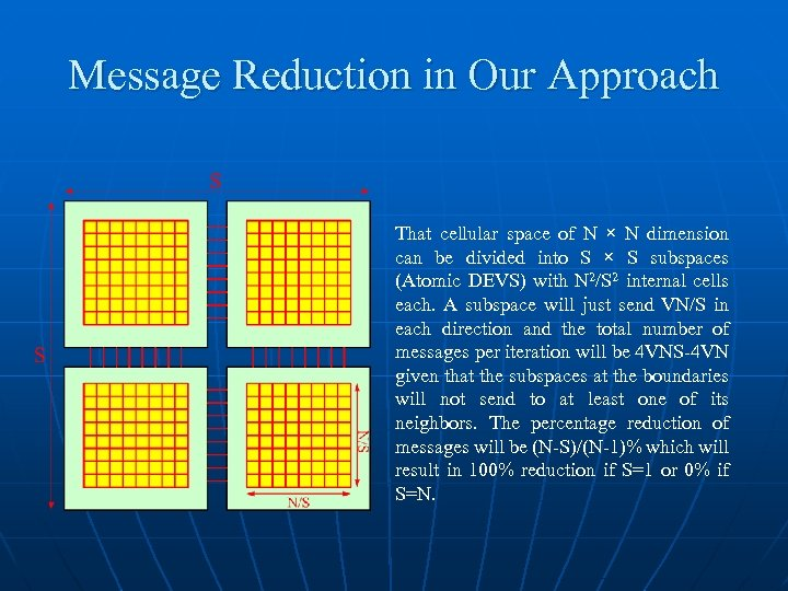 Message Reduction in Our Approach That cellular space of N × N dimension can