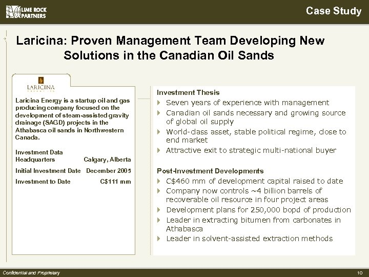 Case Study Laricina: Proven Management Team Developing New Solutions in the Canadian Oil Sands