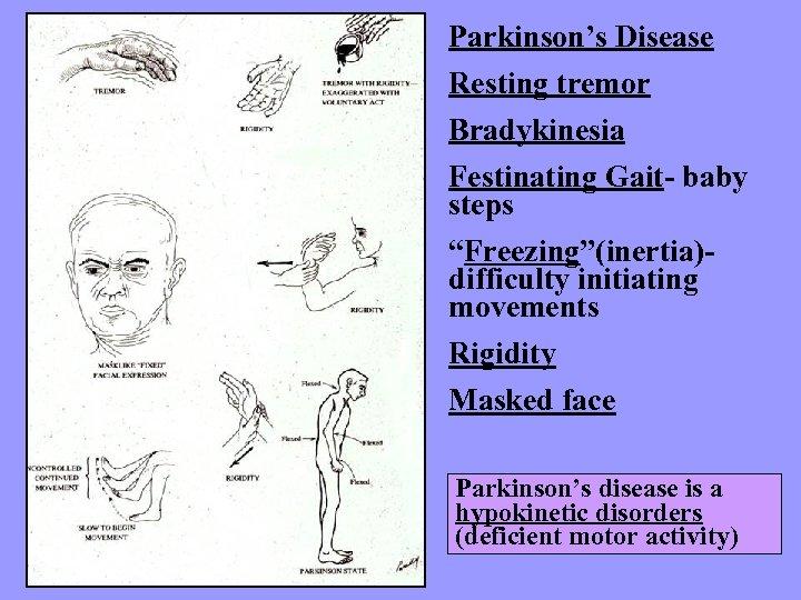 "Parkinson's Disease Resting tremor Bradykinesia Festinating Gait- baby steps ""Freezing""(inertia)difficulty initiating movements Rigidity Masked"