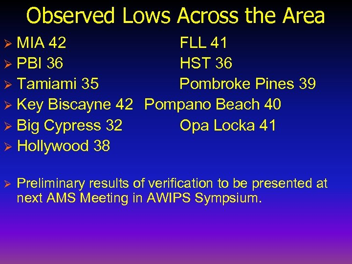Observed Lows Across the Area MIA 42 FLL 41 Ø PBI 36 HST 36