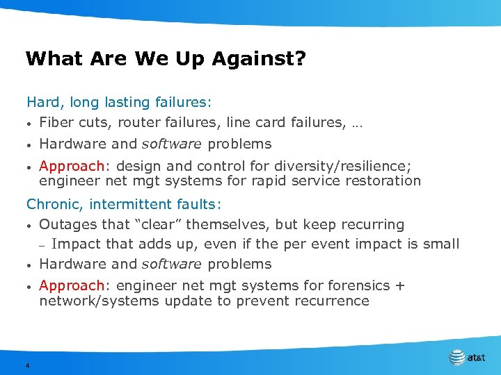 What Are We Up Against? Hard, long lasting failures: • Fiber cuts, router failures,