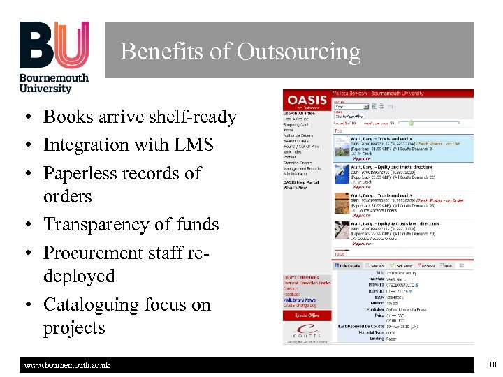 Benefits of Outsourcing • Books arrive shelf-ready • Integration with LMS • Paperless records