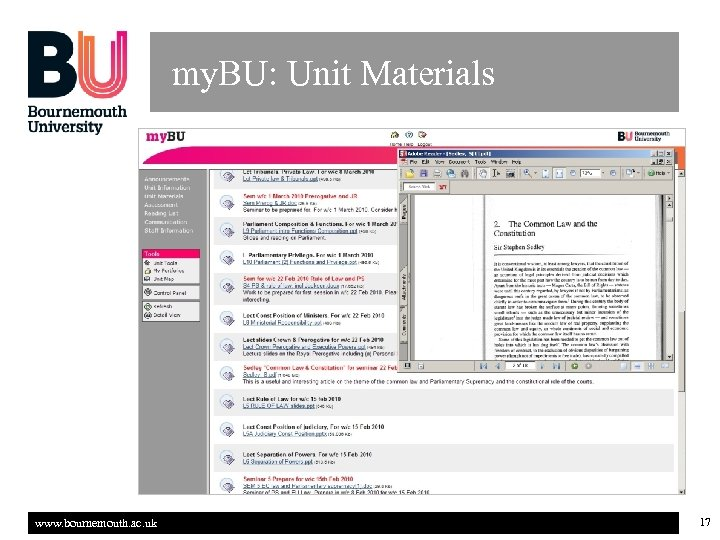 my. BU: Unit Materials www. bournemouth. ac. uk 17