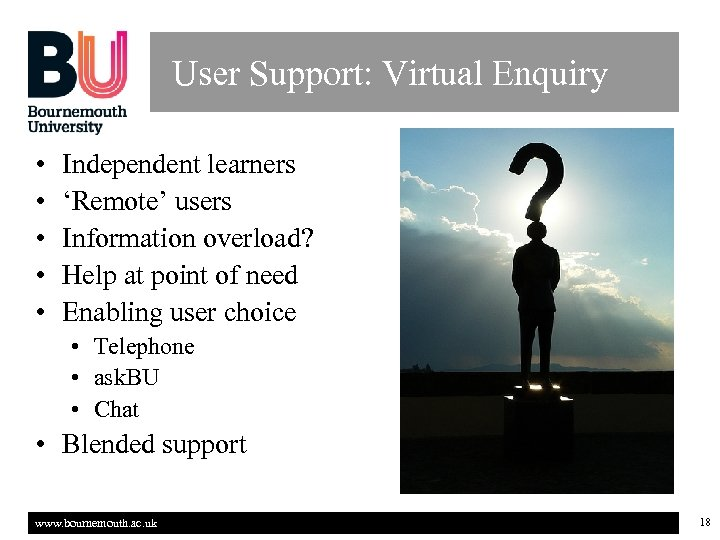 User Support: Virtual Enquiry • • • Independent learners 'Remote' users Information overload? Help