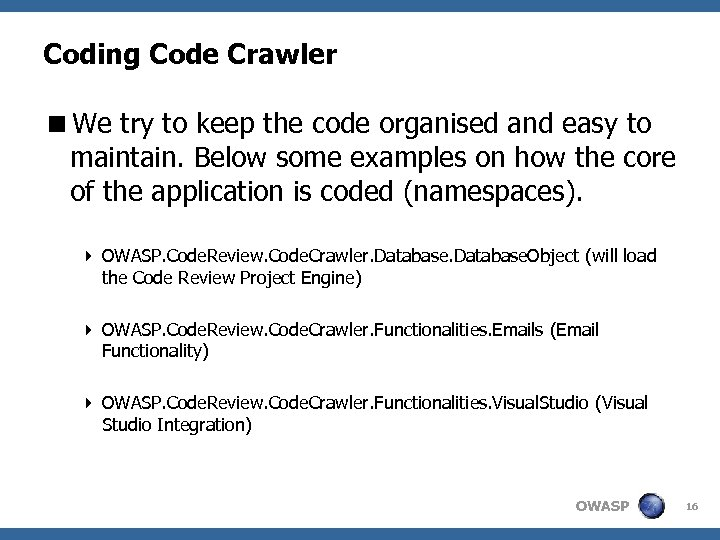 Coding Code Crawler <We try to keep the code organised and easy to maintain.