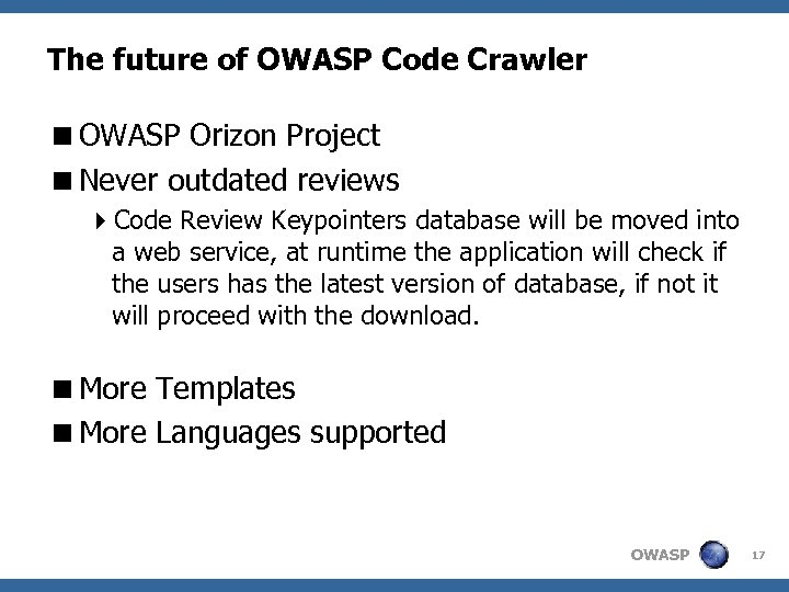 The future of OWASP Code Crawler <OWASP Orizon Project <Never outdated reviews 4 Code