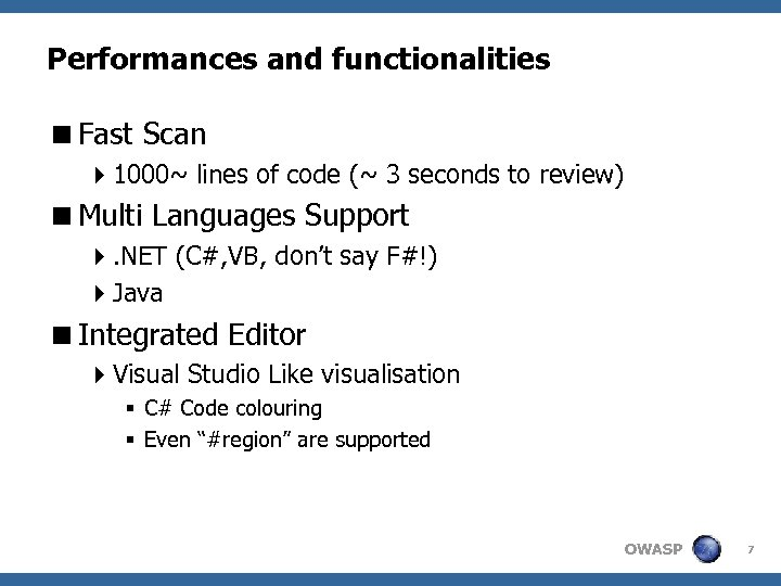 Performances and functionalities <Fast Scan 41000~ lines of code (~ 3 seconds to review)