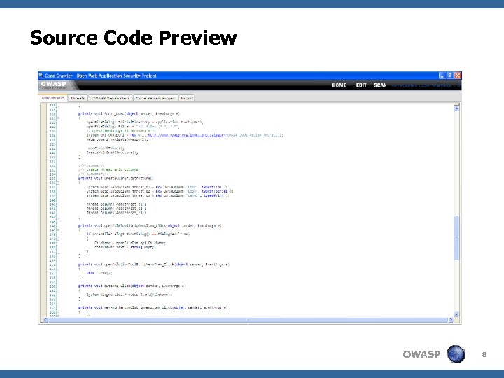 Source Code Preview OWASP 8