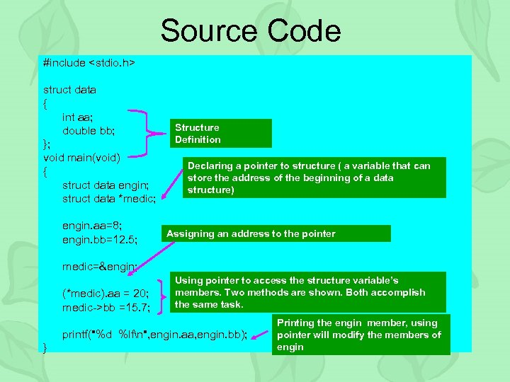 Source Code #include <stdio. h> struct data { int aa; double bb; }; void