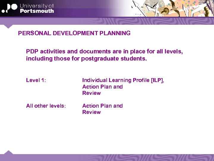 PERSONAL DEVELOPMENT PLANNING PDP activities and documents are in place for all levels, including