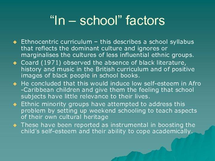 """In – school"" factors u u u Ethnocentric curriculum – this describes a school"