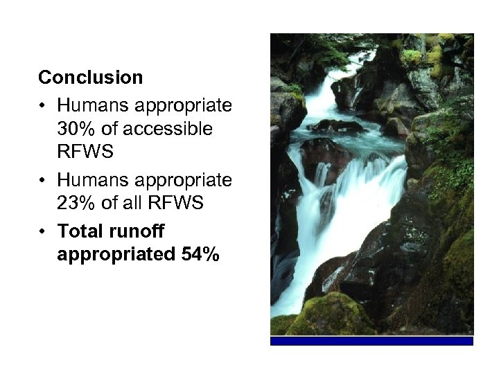 Conclusion • Humans appropriate 30% of accessible RFWS • Humans appropriate 23% of all