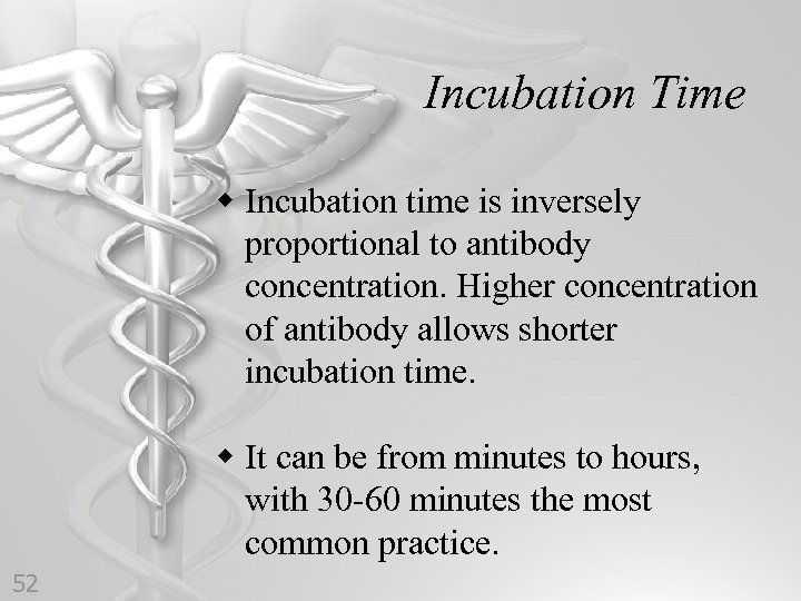Incubation Time w Incubation time is inversely proportional to antibody concentration. Higher concentration of