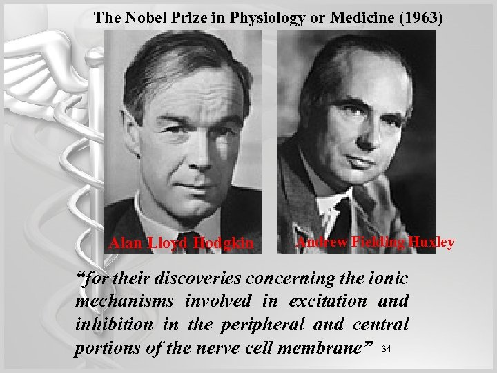 The Nobel Prize in Physiology or Medicine (1963) Alan Lloyd Hodgkin Andrew Fielding Huxley