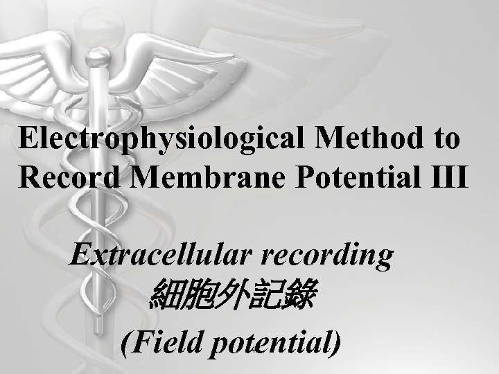 Electrophysiological Method to Record Membrane Potential III Extracellular recording 細胞外記錄 (Field potential) 47